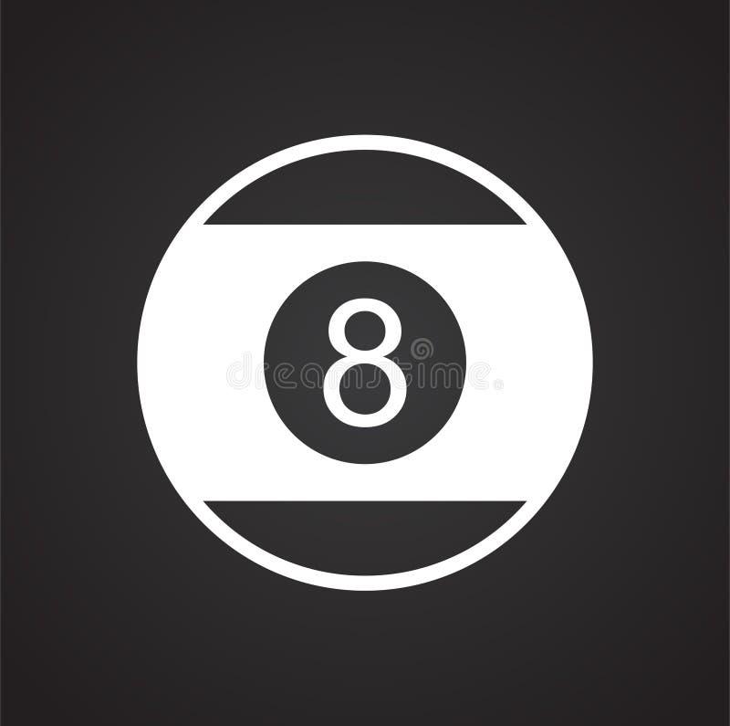 Icono de la bola de la piscina ocho en el fondo negro para el gráfico y el diseño web, muestra simple moderna del vector Concepto ilustración del vector