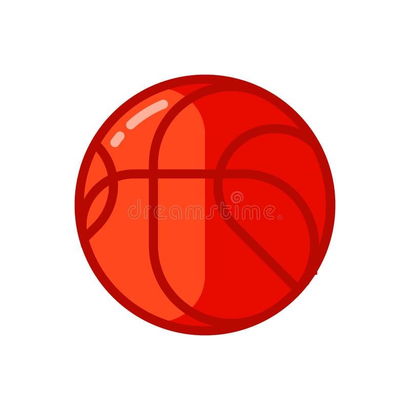 Icono de la bola roja del baloncesto en estilo plano stock de ilustración