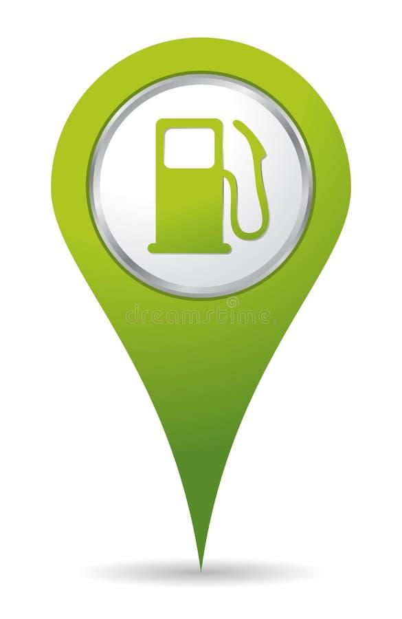 Icono de la bomba de gas de la localización stock de ilustración