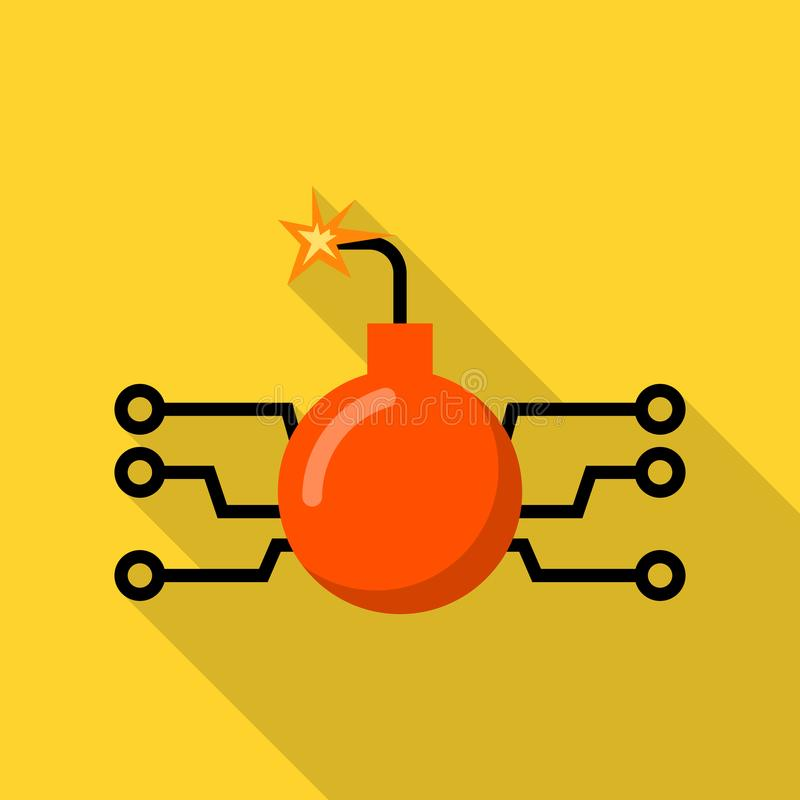 Icono de la bomba del ordenador del pirata informático, estilo plano libre illustration