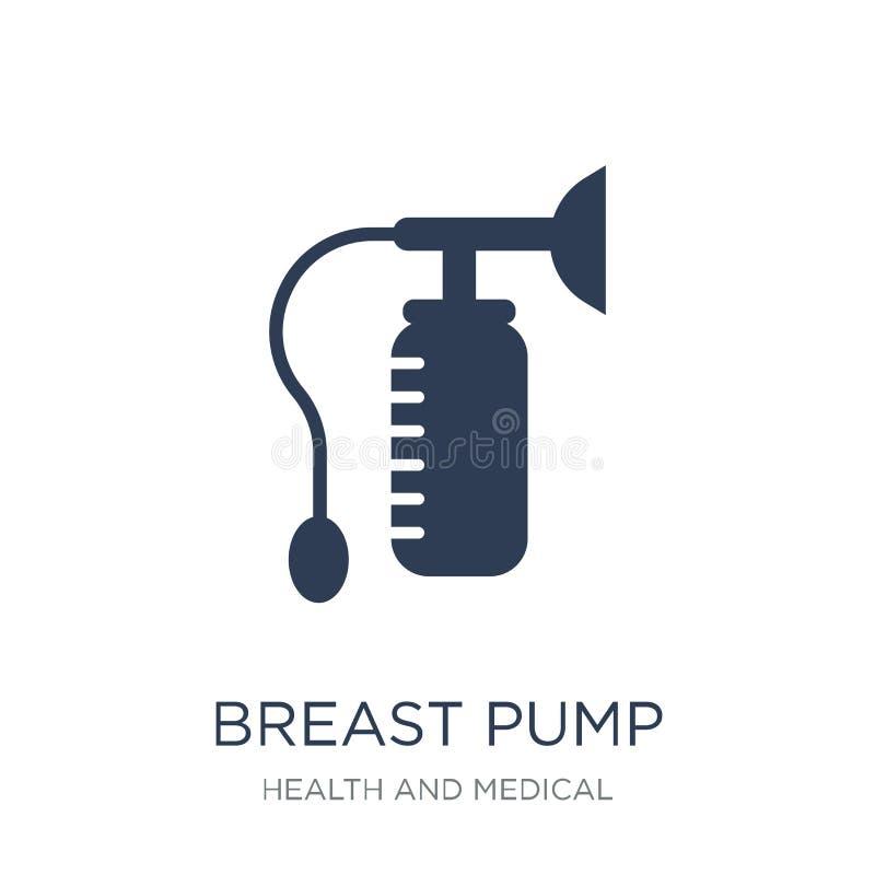 Icono de la bomba de lactancia Icono plano de moda de la bomba de lactancia del vector en b blanco ilustración del vector
