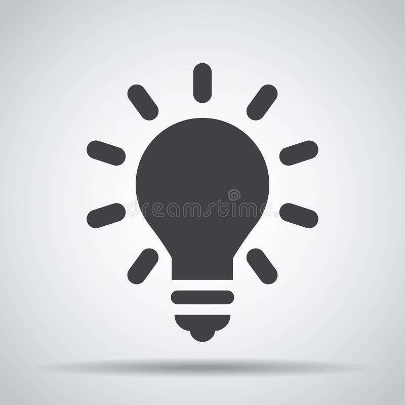 Icono de la bombilla con la sombra en un fondo gris Ilustración del vector stock de ilustración