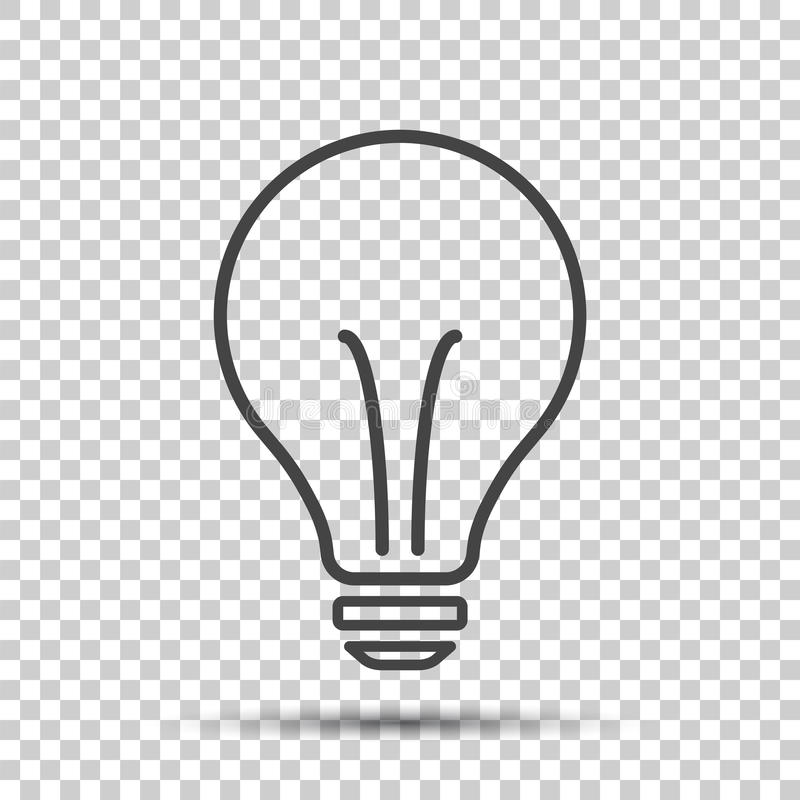 Icono de la bombilla del halógeno Muestra de la bombilla Electricidad e idea sy stock de ilustración