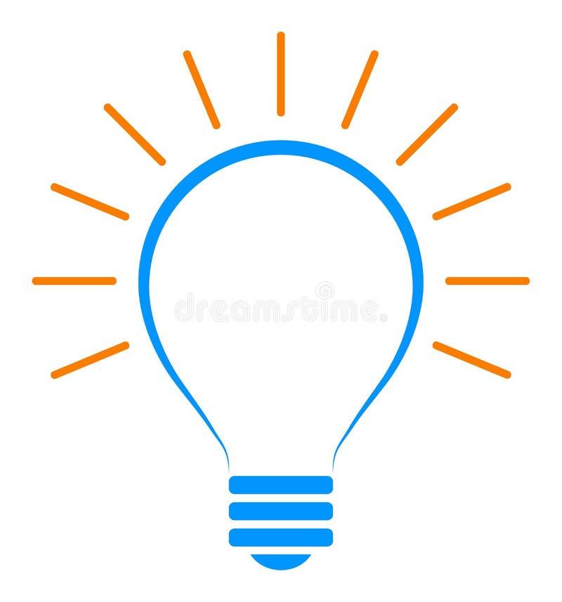 Icono de la bombilla del vector clip art simple de la lámpara stock de ilustración