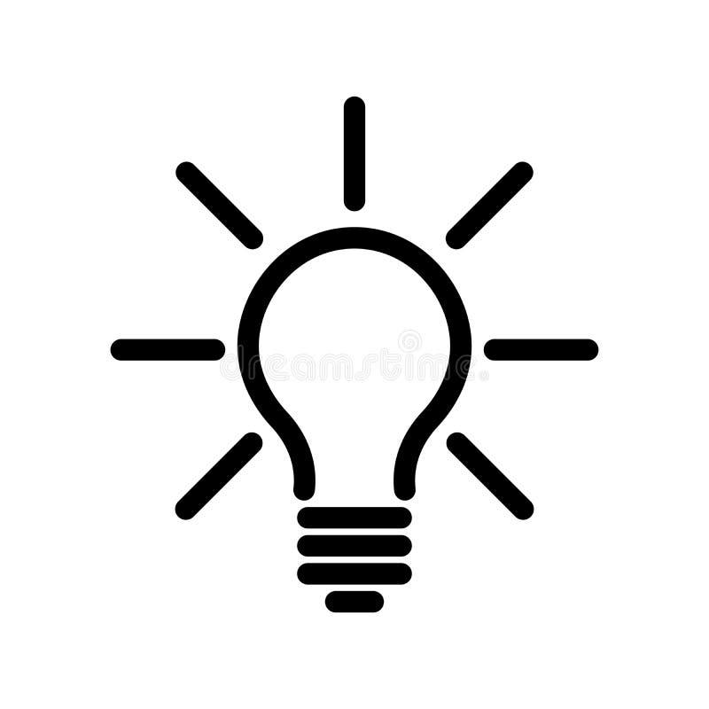 Icono de la bombilla Línea negra simple símbolo en el fondo blanco Luz, idea o koncept de pensamiento Vector moderno stock de ilustración