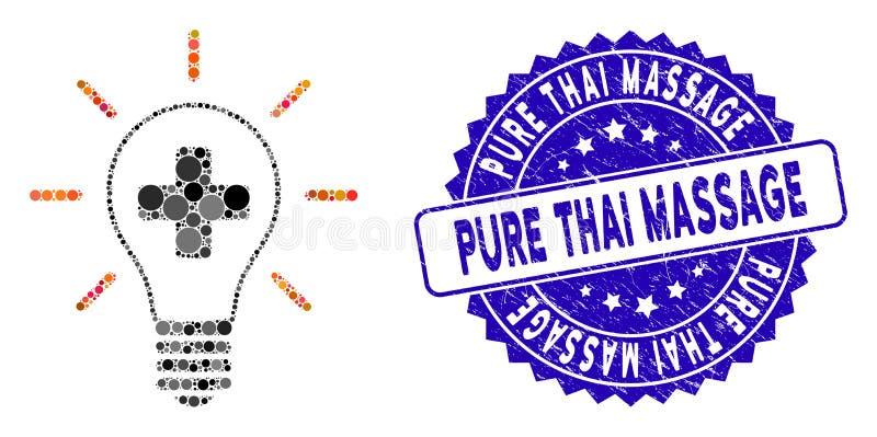 Icono de la bombilla de medicina creativa musulmana con sello de masaje tailandés puro stock de ilustración