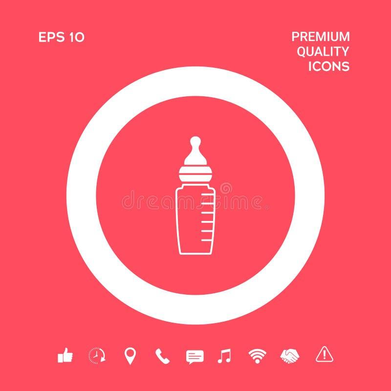 Icono de la botella de alimentación del bebé Elementos gráficos para su diseño stock de ilustración