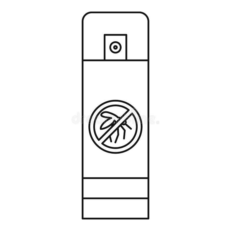Icono de la botella del espray del mosquito, estilo del esquema stock de ilustración