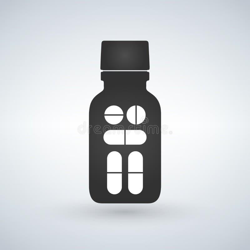 icono de la botella de píldora Botella de píldora moderna para las píldoras o las cápsulas Ejemplo plano del estilo aislado en fo ilustración del vector