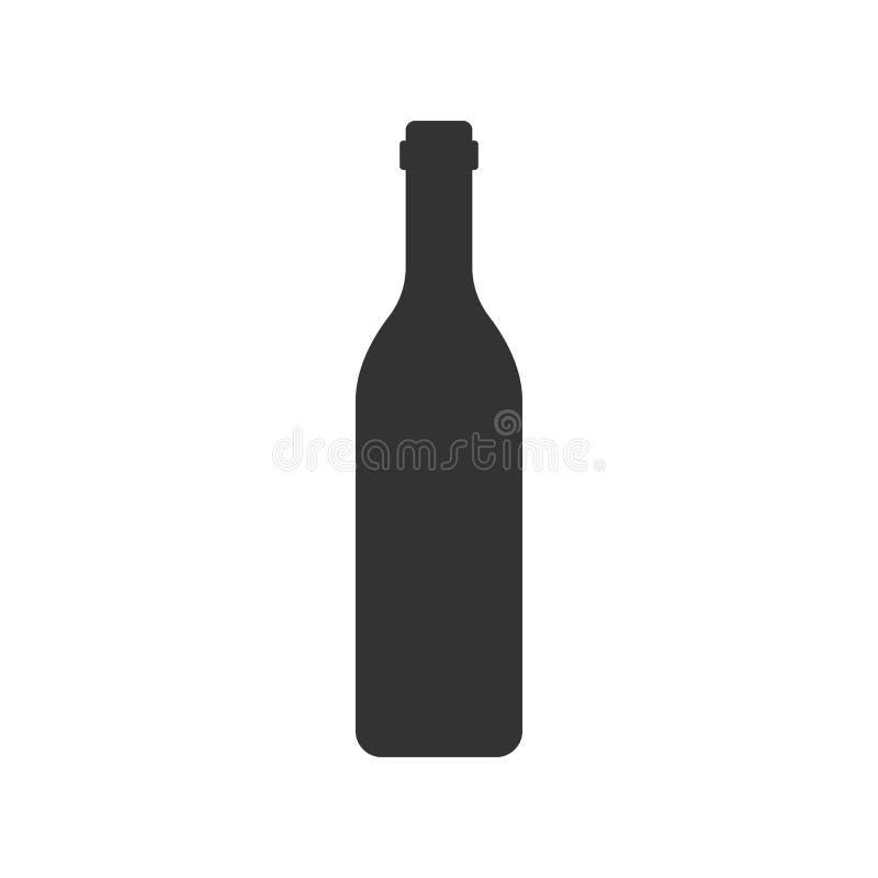 Icono de la botella de vino en estilo plano Ejemplo de la botella del alcohol en w stock de ilustración