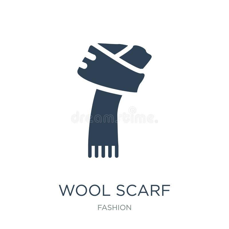 icono de la bufanda de las lanas en estilo de moda del diseño icono de la bufanda de las lanas aislado en el fondo blanco icono d stock de ilustración