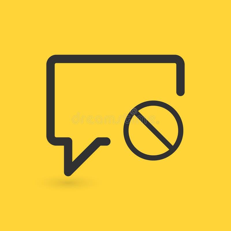Icono de la burbuja de la charla con la muestra no permitida El icono y el bloque de la charla, prohibidos, prohíben símbolo Ilus stock de ilustración