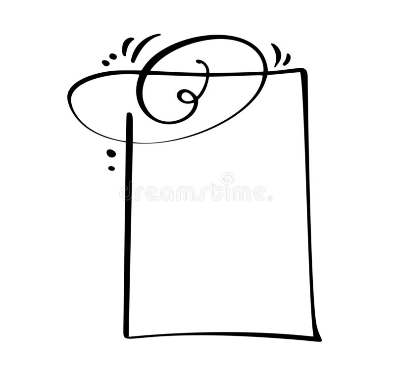 Icono de la burbuja del discurso de la cita de la historieta de la caligrafía Marco de texto de la mano o plantilla exhausto de l ilustración del vector