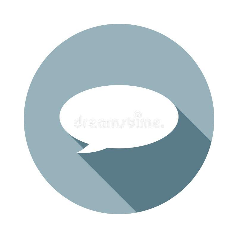 Icono de la burbuja del discurso en estilo largo plano de la sombra Uno del icono de la colección del web se puede utilizar para  ilustración del vector