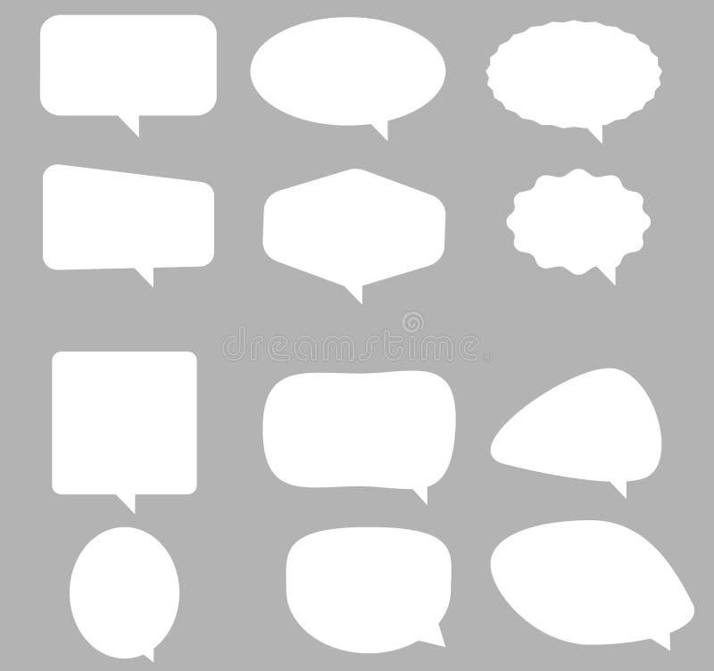 Icono de la burbuja del discurso en fondo gris Estilo plano W vacío en blanco ilustración del vector