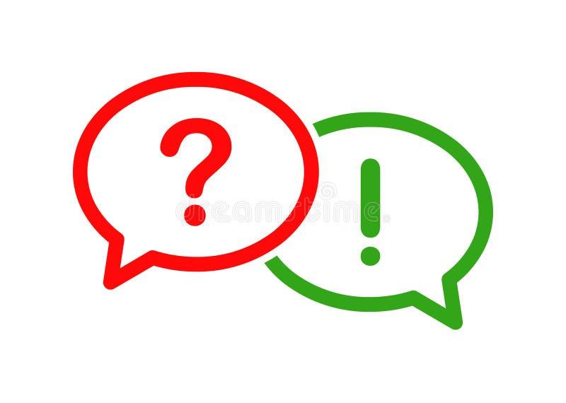 Icono de la burbuja de la pregunta y de la respuesta ilustración del vector
