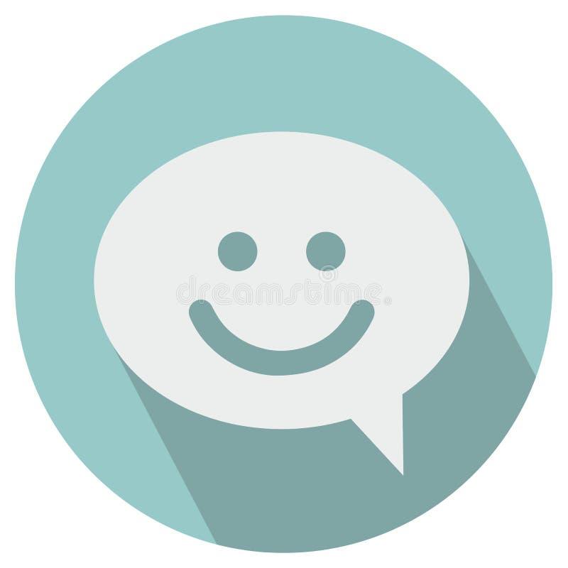 Icono de la burbuja de la sonrisa que habla stock de ilustración