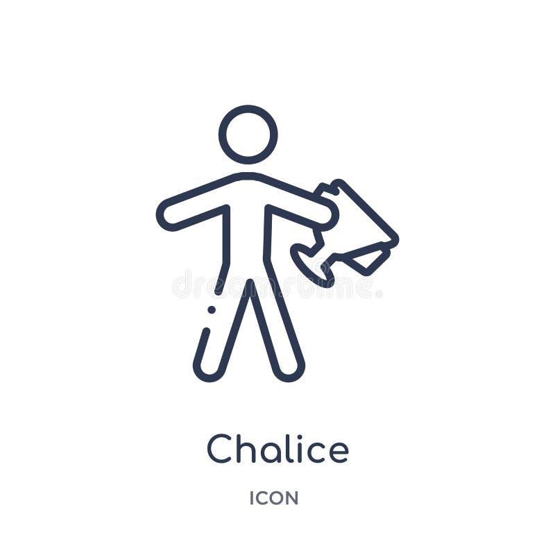 Icono de la cáliz de la colección del esquema de los Juegos Olímpicos Línea fina icono de la cáliz aislado en el fondo blanc stock de ilustración