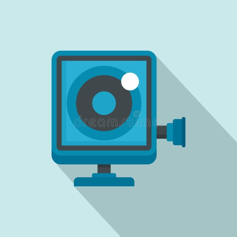 Icono de la cámara de la acción, estilo plano stock de ilustración