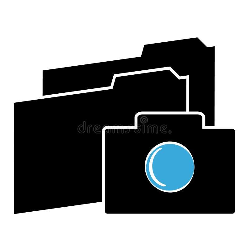 Icono de la cámara con las carpetas en el fondo blanco Ilustración del vector libre illustration