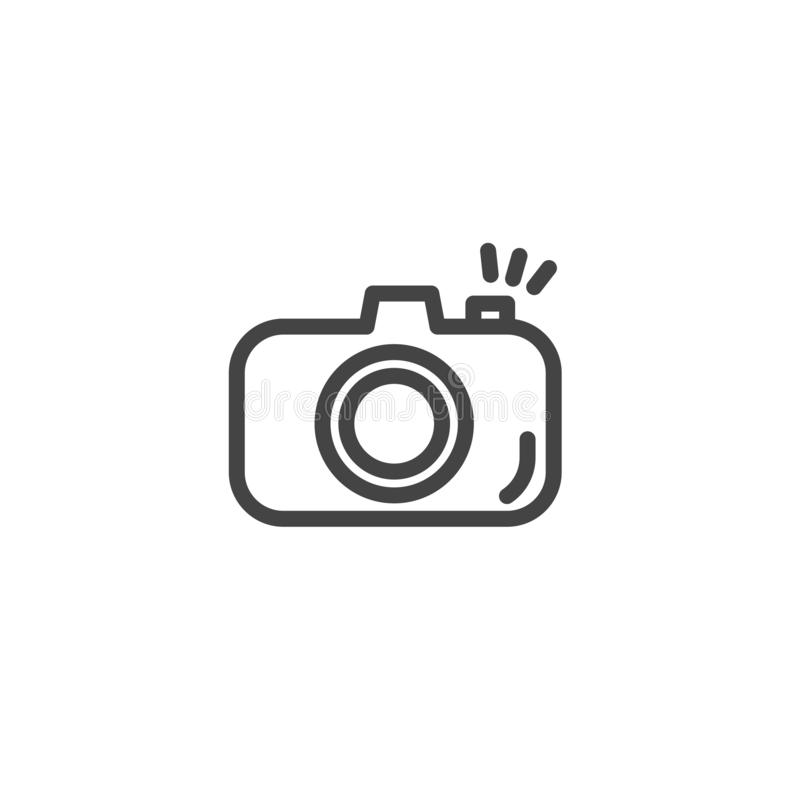 Icono de la cámara en estilo de moda del esquema aislado en el fondo blanco para el diseño de la página web, logotipo, app libre illustration
