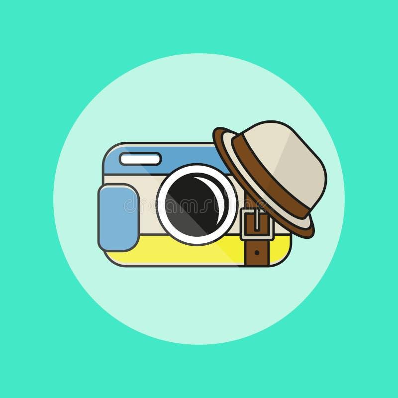 Icono de la cámara en estilo plano stock de ilustración
