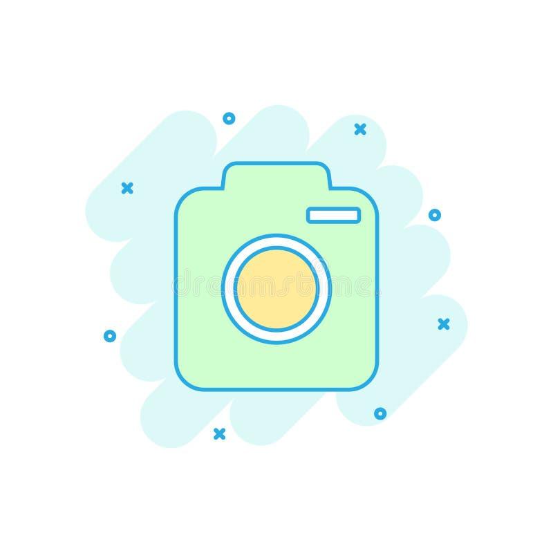 Icono de la cámara de la foto coloreada de la historieta en estilo cómico Fotógrafo c ilustración del vector