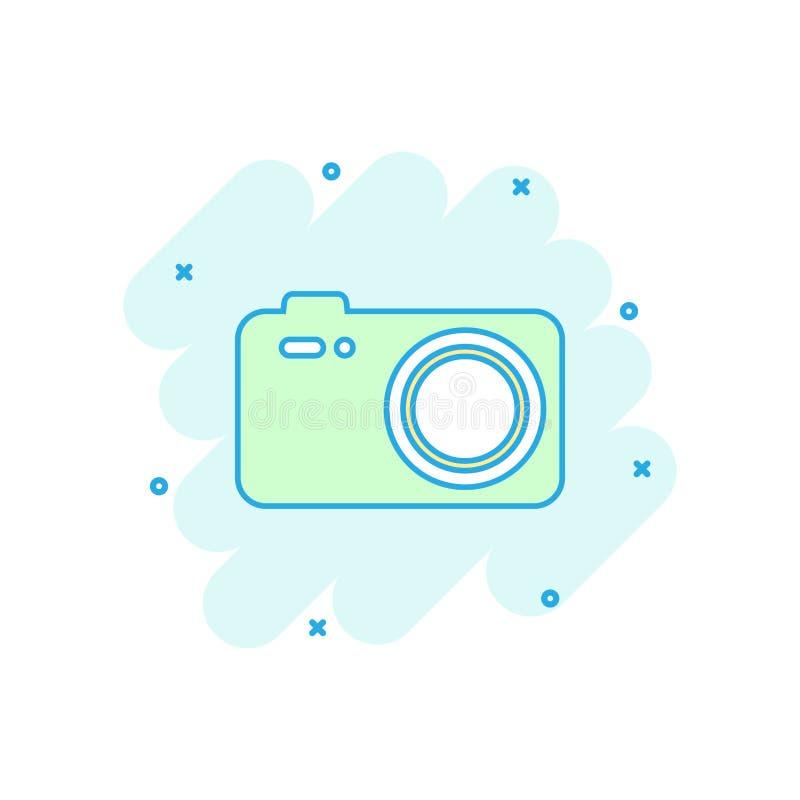 Icono de la cámara de la foto coloreada de la historieta en estilo cómico Fotógrafo c stock de ilustración