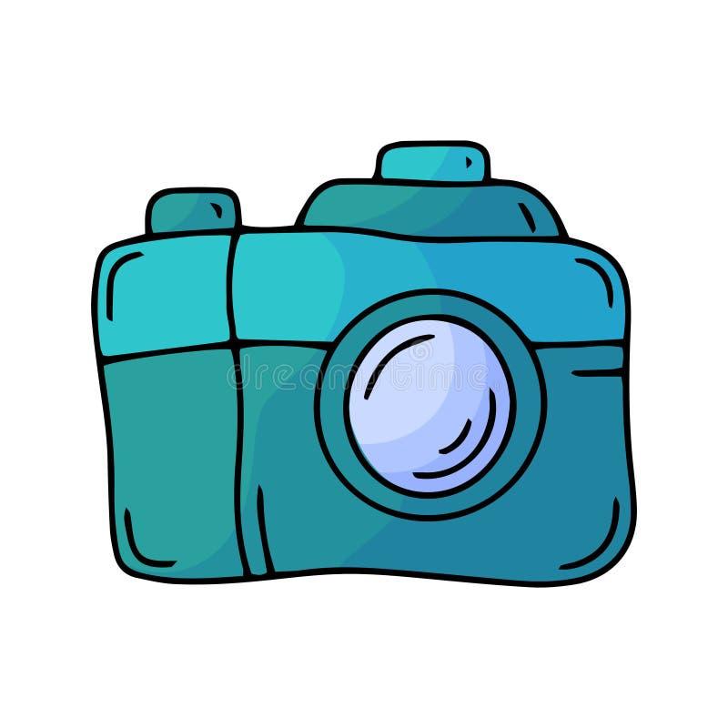 Icono de la cámara de la foto del garabato Elemento del cine Línea simple ejemplo del vector del arte libre illustration