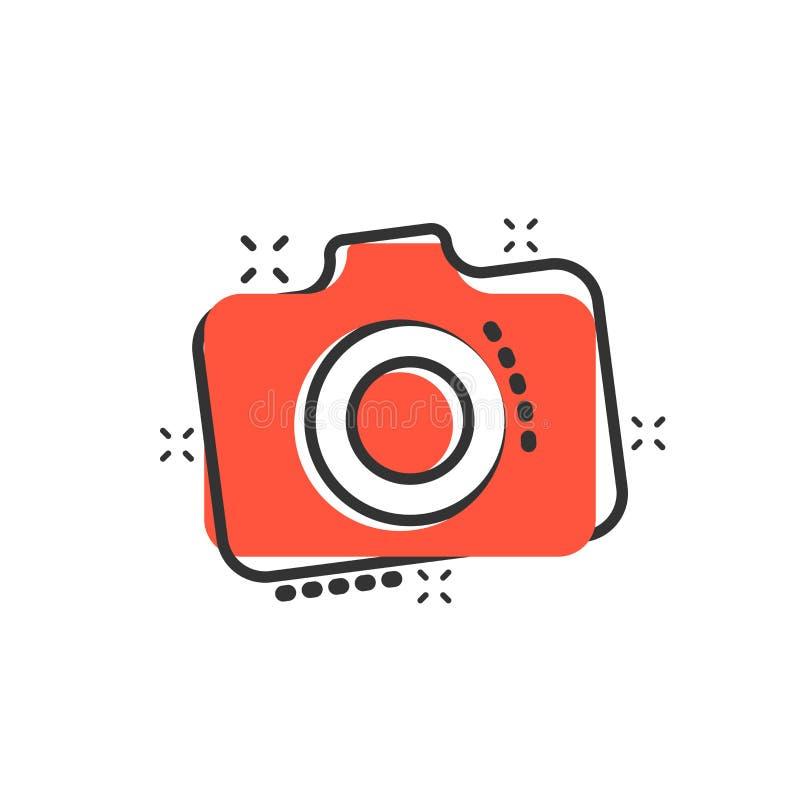 Icono de la cámara de la foto en estilo cómico Pictograma del ejemplo de la historieta del vector del equipo de la leva del fotóg stock de ilustración