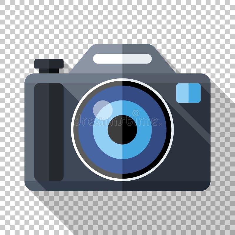 Icono de la cámara de la foto en estilo plano en fondo transparente stock de ilustración