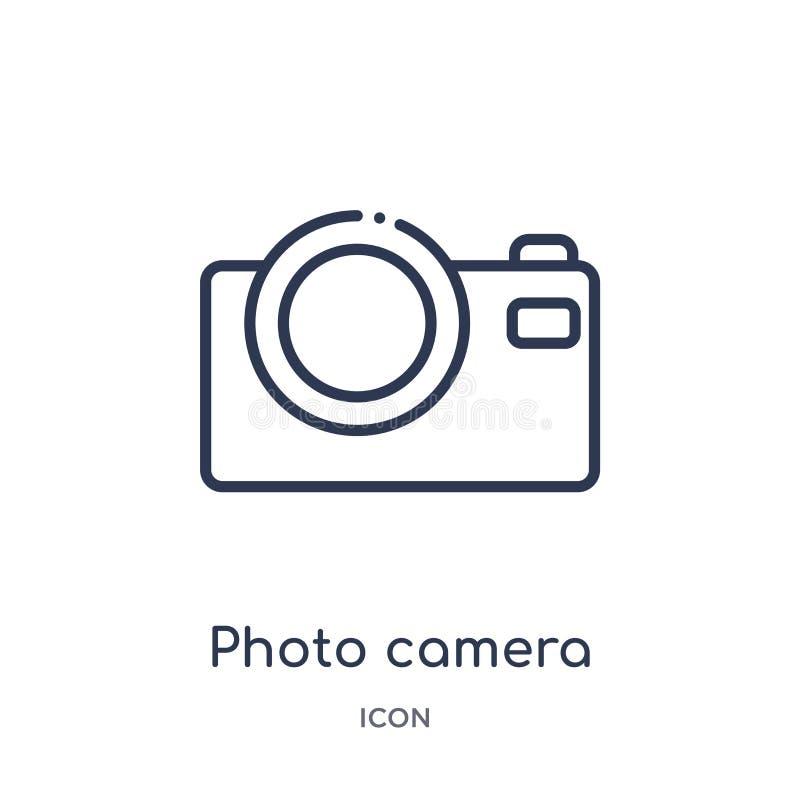Icono de la cámara de la foto de la música y de la colección del esquema de los medios Línea fina icono de la cámara de la foto a libre illustration