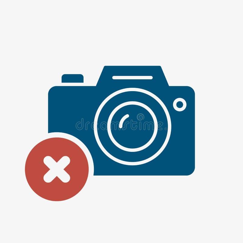 Icono de la cámara de la foto, icono de la tecnología con la muestra de la cancelación El icono y el cierre, cancelación de la cá ilustración del vector