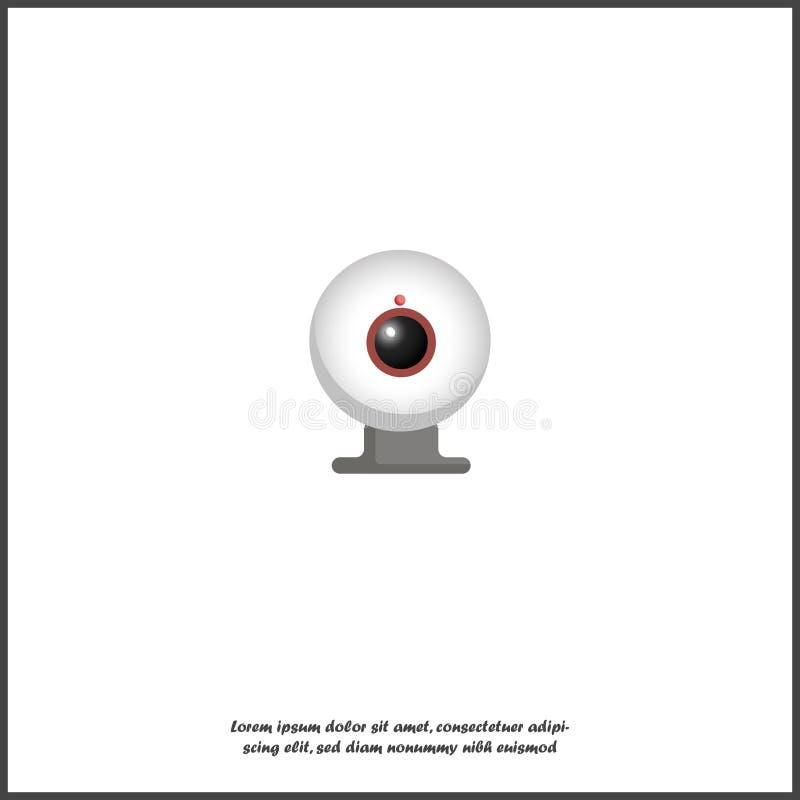 Icono de la cámara web del vector en el fondo aislado blanco ilustración del vector