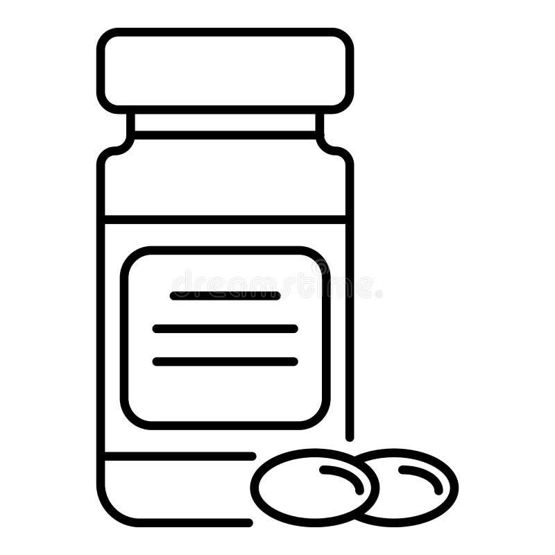 Icono de la cápsula del aceite de pescado, estilo del esquema stock de ilustración