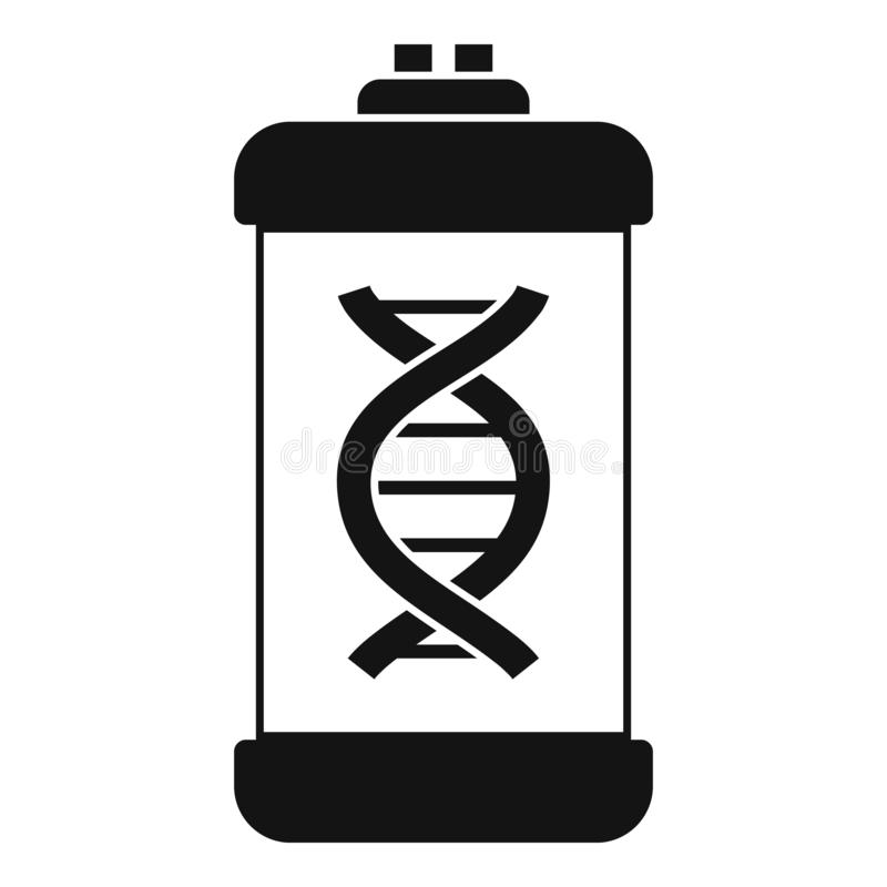 Icono de la cápsula de la molécula de la DNA, estilo simple stock de ilustración