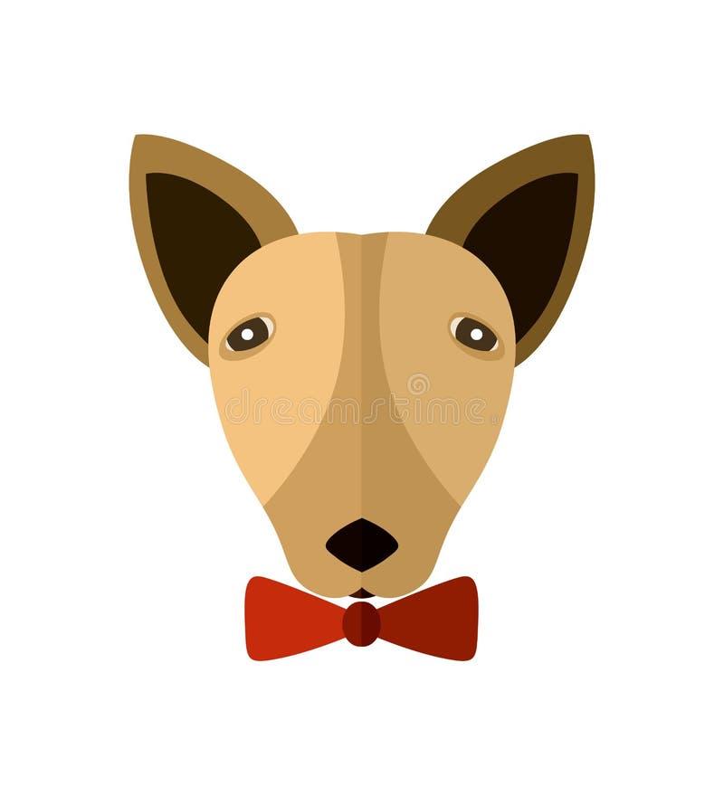Icono de la cabeza de bull terrier en diseño plano ilustración del vector