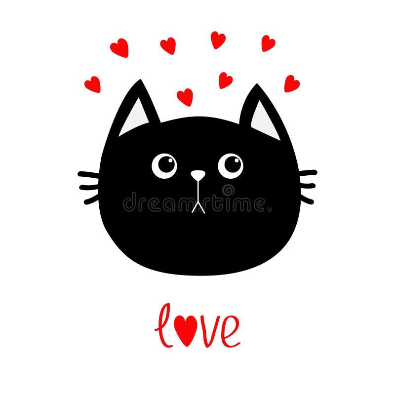 Icono de la cabeza del gato negro Sistema rojo del corazón Personaje de dibujos animados divertido lindo Tarjeta de felicitación  ilustración del vector