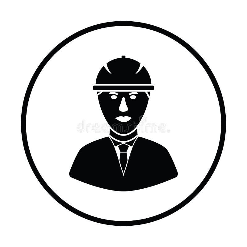 Icono de la cabeza del trabajador de construcción en casco stock de ilustración