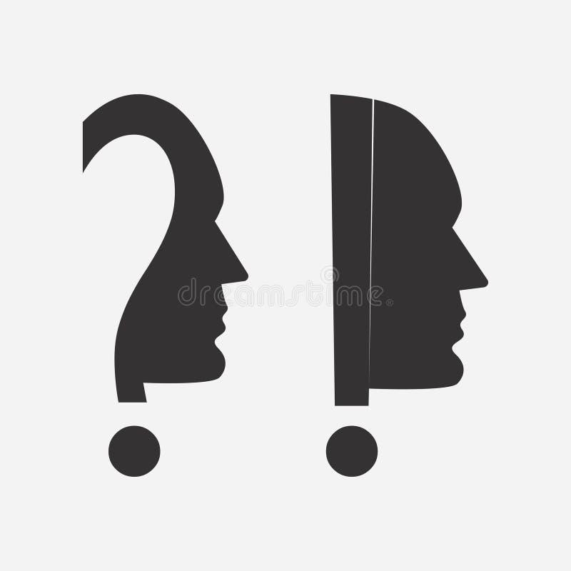 Icono de la cabeza humana con un signo de la exclamación y de interrogación Vector ilustración del vector
