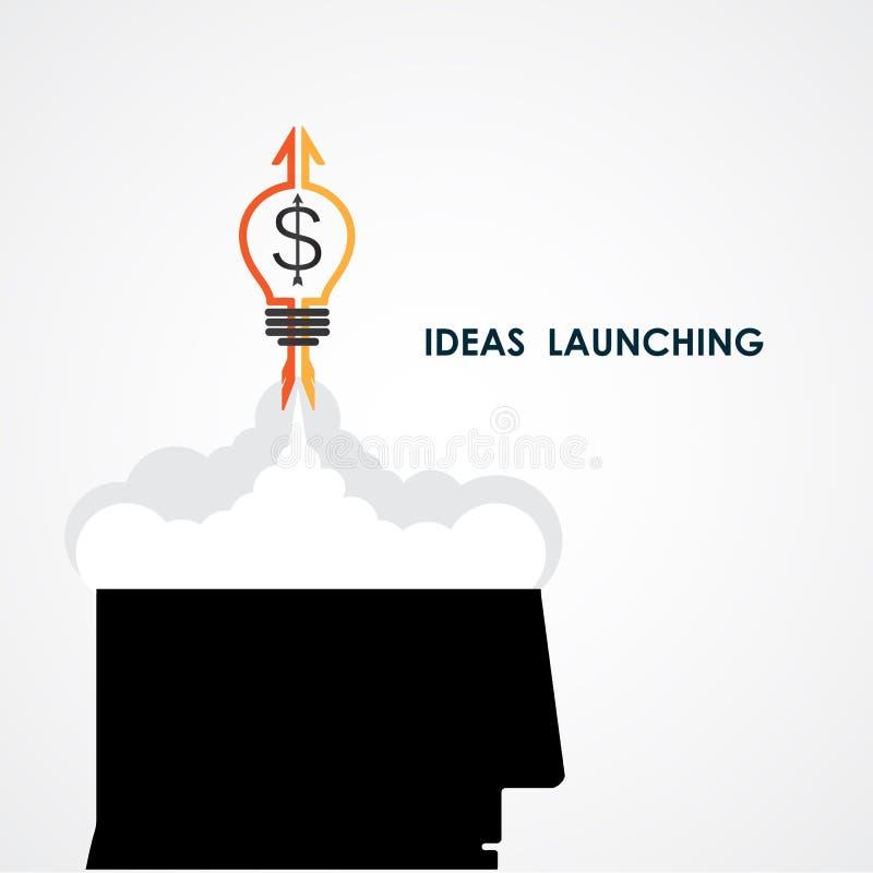 Icono de la cabeza humana y del cohete Ideas e icono de lanzamiento del negocio ilustración del vector