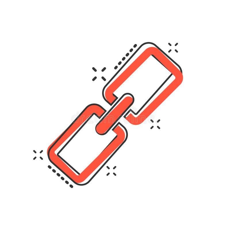 Icono de la cadena de la historieta del vector en estilo cómico Illust de la muestra de la conexión ilustración del vector