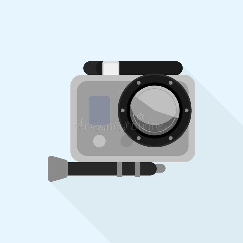 Icono de la caja de la cámara de la acción, estilo plano ilustración del vector