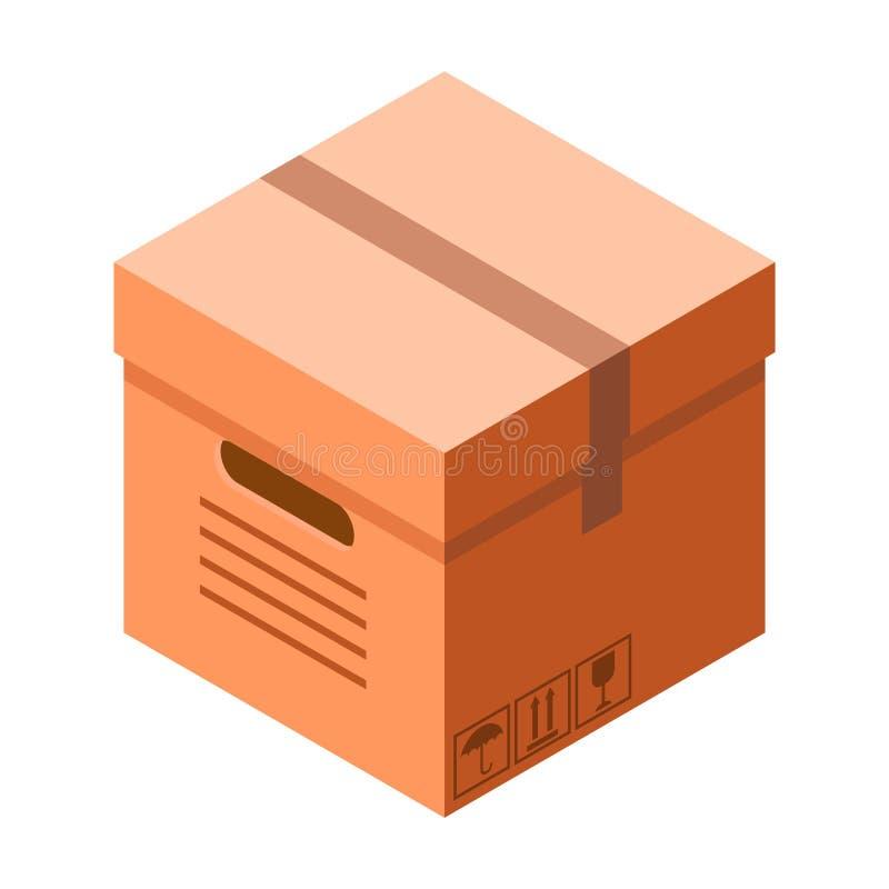 Icono de la caja de cartón de la entrega, estilo isométrico libre illustration