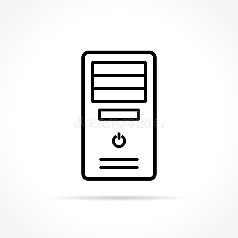 Icono de la caja del ordenador en el fondo blanco stock de ilustración