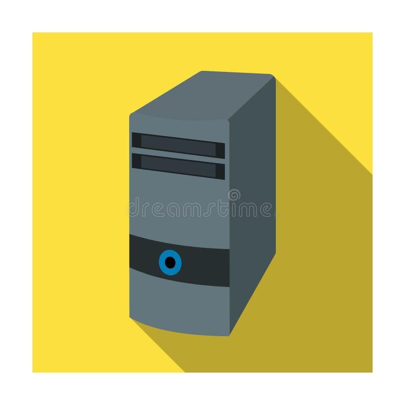 Icono de la caja del ordenador en estilo plano aislado en el fondo blanco Vector de computadora personal de la acción del símbolo stock de ilustración
