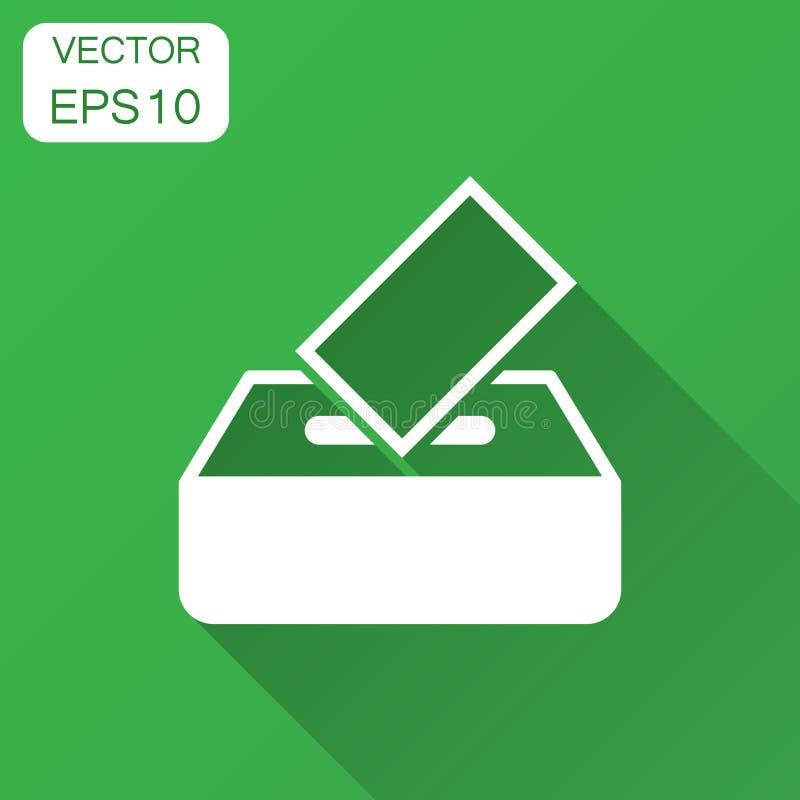 Icono de la caja del votante de la elección en estilo plano Ejemplo del vector de la sugerencia de la votación con la sombra larg stock de ilustración