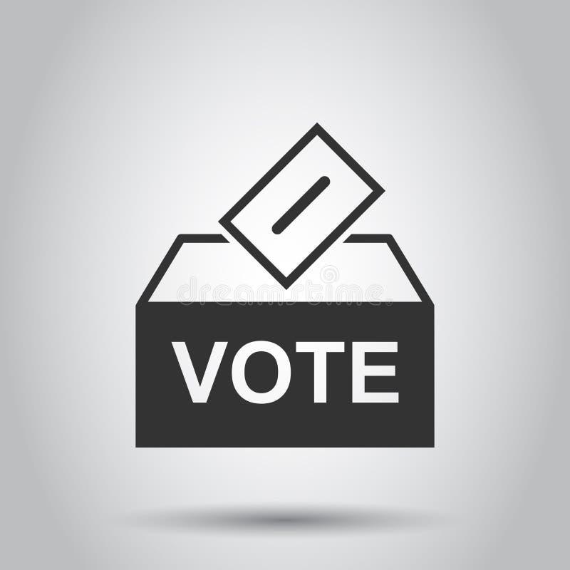 Icono de la caja del votante de la elección en estilo plano Ejemplo del vector de la sugerencia de la votación en el fondo blanco ilustración del vector