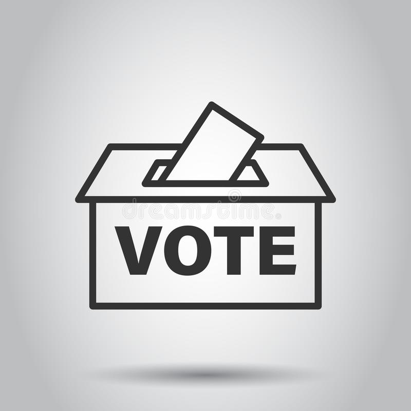 Icono de la caja del votante de la elección en estilo plano Ejemplo del vector de la sugerencia de la votación en el fondo blanco stock de ilustración