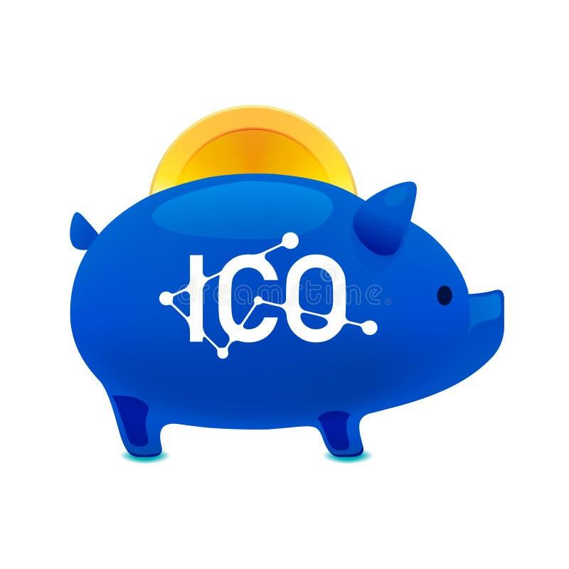Icono de la caja de dinero del cerdo con el bitcoin que cae, bitcoin de ICO, moneda inicial que ofrece, concepto simbólico del pr ilustración del vector